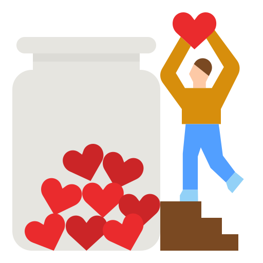 Graphic of a male presenting person putting hearts into a large jar
