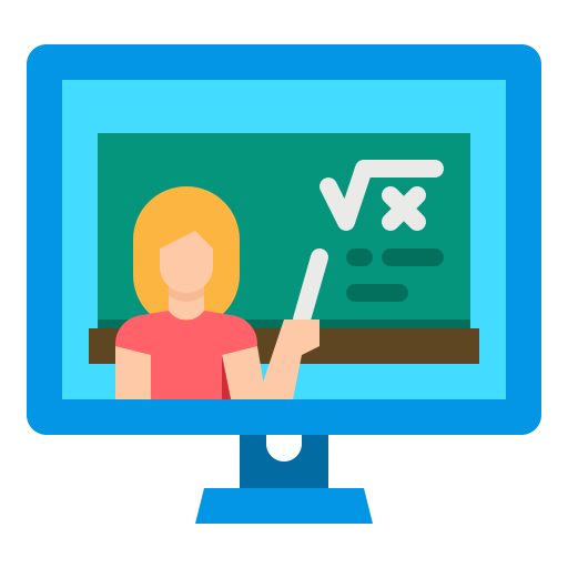 graphic of a female presenting person pointing at a chalkboard inside a computer monitor