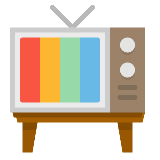 Graphic of a television set with brightly colored lines on the screen